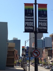 Pride banners line the streets of Downtown Columbus